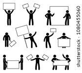 stick figure join protest set.... | Shutterstock .eps vector #1080455060