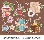 chocolate cupcake  coffee maker ... | Shutterstock .eps vector #1080456926