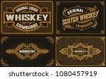 4 old labels for packing.... | Shutterstock .eps vector #1080457919