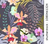 royal orchids bloom. seamless... | Shutterstock .eps vector #1080461324