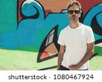 young bearded handsome man... | Shutterstock . vector #1080467924