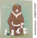 cute birthday hares and bear | Shutterstock .eps vector #1080471029