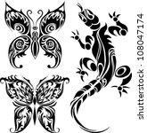 vector illustration tattoo... | Shutterstock .eps vector #108047174