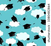 graduates hats in the clouds... | Shutterstock .eps vector #1080482864