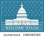 Stock vector welcome to usa poster with headline and frame capitol as symbolic representation sign of american 1080483560