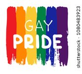 grunge rainbow flag with... | Shutterstock .eps vector #1080483923