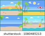 summertime paradise set of... | Shutterstock .eps vector #1080485213