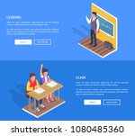 class lessons with students boy ... | Shutterstock .eps vector #1080485360