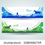 horse grass roll up banner... | Shutterstock .eps vector #1080486749