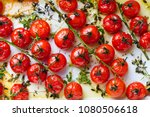 roasted cherry tomatoes with... | Shutterstock . vector #1080506618