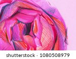 peony with colored pencils.... | Shutterstock . vector #1080508979