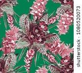 spring flowers seamless pattern....   Shutterstock . vector #1080520073