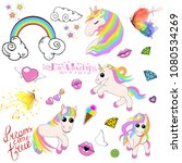 a set of icons of unicorns ... | Shutterstock . vector #1080534269