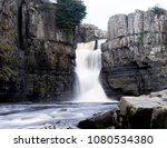 Small photo of High Force Waterfall in gloomy day on spring in England