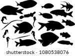 illustration with set of fish... | Shutterstock .eps vector #1080538076