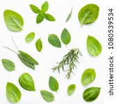 various fresh herbs for cooking ... | Shutterstock . vector #1080539534
