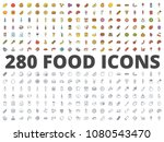food colored and line icon pack ... | Shutterstock . vector #1080543470