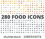 food flat and silhouette icon...   Shutterstock . vector #1080543476