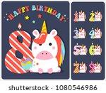 cute unicorn happy birthday... | Shutterstock .eps vector #1080546986
