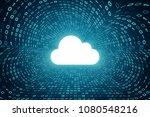white cloud icon inside cyan... | Shutterstock . vector #1080548216
