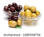 green and black olives isolated ...   Shutterstock . vector #1080548756