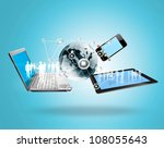 magic technology with social... | Shutterstock . vector #108055643