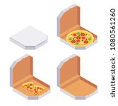 whole and slices pizza in...   Shutterstock .eps vector #1080561260