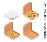 pizza slices. isometric carton... | Shutterstock .eps vector #1080561260