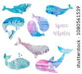whales watercolor texture... | Shutterstock . vector #1080561539