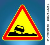 yellow traffic sign of bad road ... | Shutterstock .eps vector #1080562358