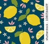 seamless pattern with lemons... | Shutterstock .eps vector #1080566609