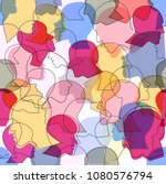 seamless pattern of a crowd of... | Shutterstock .eps vector #1080576794