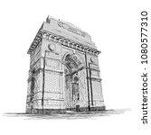 india gate vector sketch... | Shutterstock .eps vector #1080577310