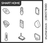 smart home outline isometric... | Shutterstock .eps vector #1080578480