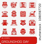 vector groundhog day icon set | Shutterstock .eps vector #1080587720