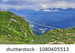 rope bridge in sochi mountains... | Shutterstock . vector #1080605513