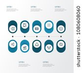 multimedia icons line style set ... | Shutterstock .eps vector #1080608060