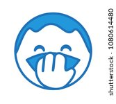 emoji with laughing man with... | Shutterstock .eps vector #1080614480