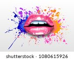 glossy colored and sexy lips in ...   Shutterstock .eps vector #1080615926