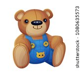 teddy bear in overalls isolated ... | Shutterstock . vector #1080635573