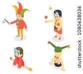 isometric clown joke fun boys... | Shutterstock .eps vector #1080638036