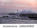 ave river mouth at sunset ... | Shutterstock . vector #1080639800