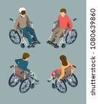 disabled male and female people ... | Shutterstock .eps vector #1080639860