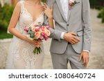 wedding couple. bride with...   Shutterstock . vector #1080640724