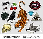 set of fashion patches. tattoo... | Shutterstock .eps vector #1080640976