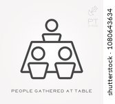 line icon people gathered at... | Shutterstock .eps vector #1080643634