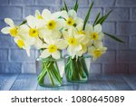 bouquets of daffodils close up. ... | Shutterstock . vector #1080645089