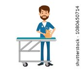 veterinary doctor with cat in... | Shutterstock .eps vector #1080650714