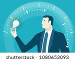 businessman holding light bulb...   Shutterstock .eps vector #1080653093