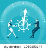 businessman and robot fighting...   Shutterstock .eps vector #1080653144